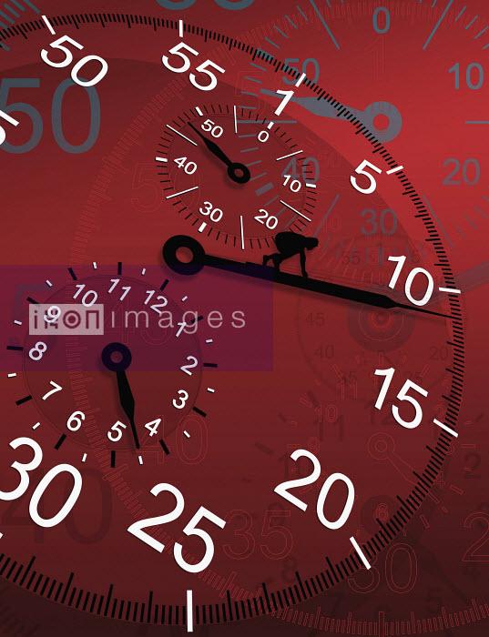 Close up of person crawling along large clock hand - Close up of person crawling along large clock hand - David Angel
