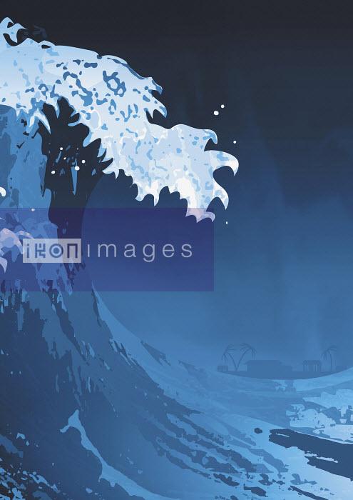 Large wave cresting in storm - Large wave cresting in storm - David Angel