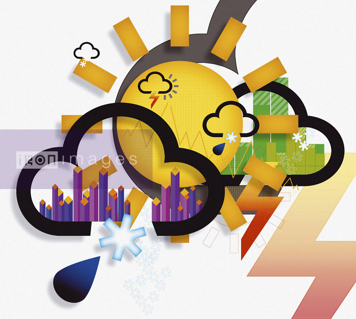 Collage of weather icons and symbols - Collage of weather icons and symbols - David Angel