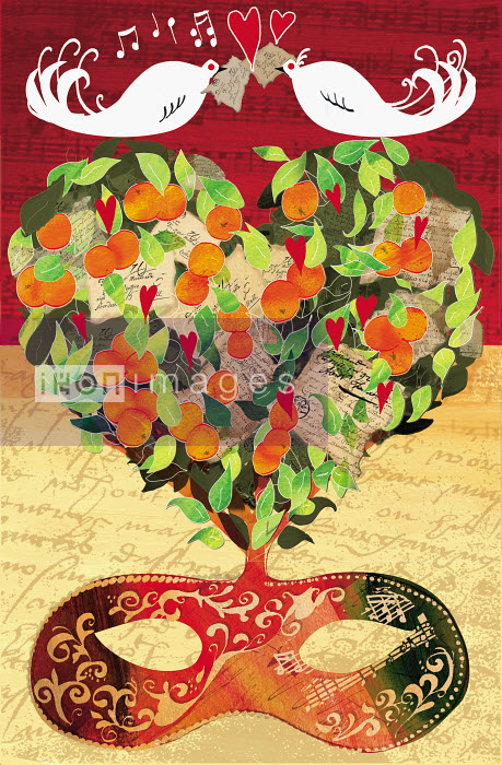 Two birds singing on heart shaped tree over mask - Two birds singing on heart shaped tree over mask - Jo Empson