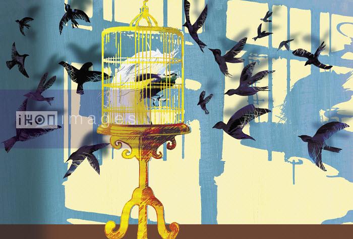 Birds flying towards bird in gilded cage - Birds flying towards bird in gilded cage - Jo Empson