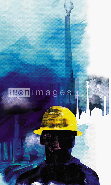 Construction worker in hard-hat with smokestack in background - Construction worker in hard-hat with smokestack in background - Jo Empson