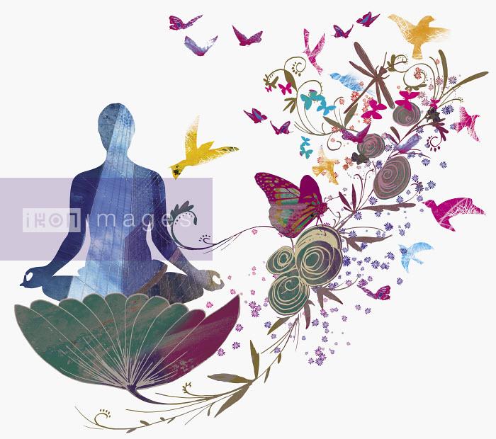 Woman sitting in flower meditating - Woman sitting in flower meditating - Jo Empson