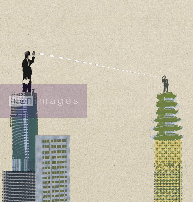 Business people communicating from highrise rooftop - Business people communicating from highrise rooftop - Paul Jackson