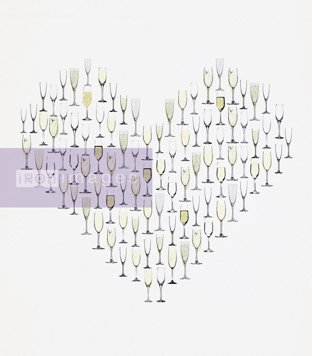 Champagne flutes forming heart - Champagne flutes forming heart - Paul Jackson