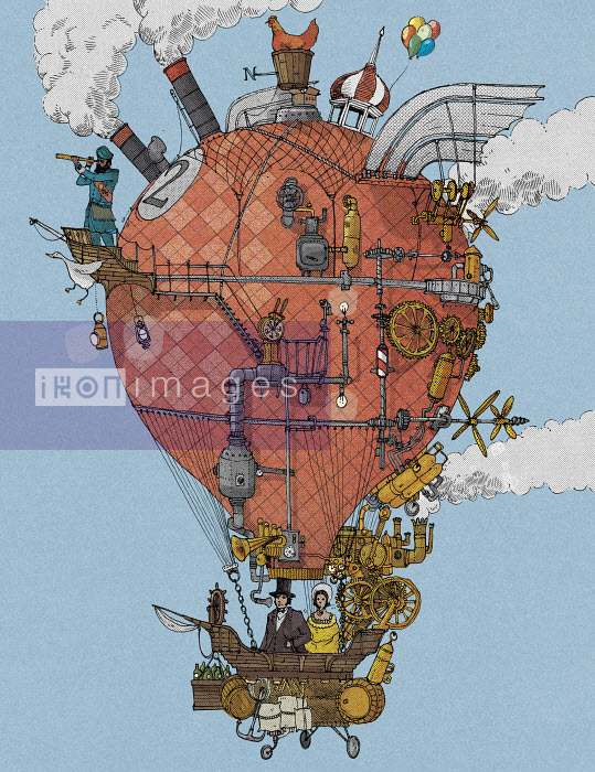 Old-fashioned explorers in homemade hot air balloon - Old-fashioned explorers in homemade hot air balloon - Paul Jackson