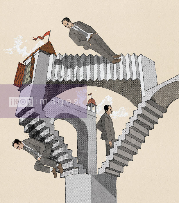 Businessman trapped in optical illusion - Businessman trapped in optical illusion - Paul Jackson