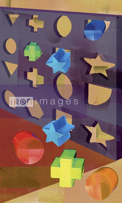 Geometric shapes being pushed through the wrong holes - Geometric shapes being pushed through the wrong holes - Sarah Jones