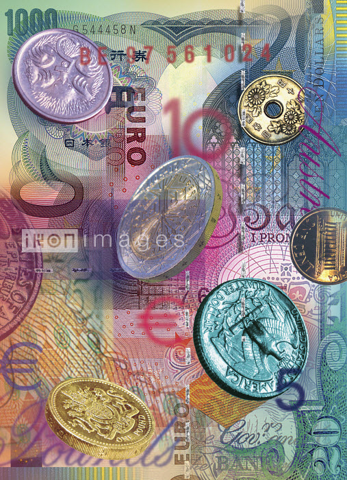 Collage of foreign bills and coins - Collage of foreign bills and coins - Sarah Jones