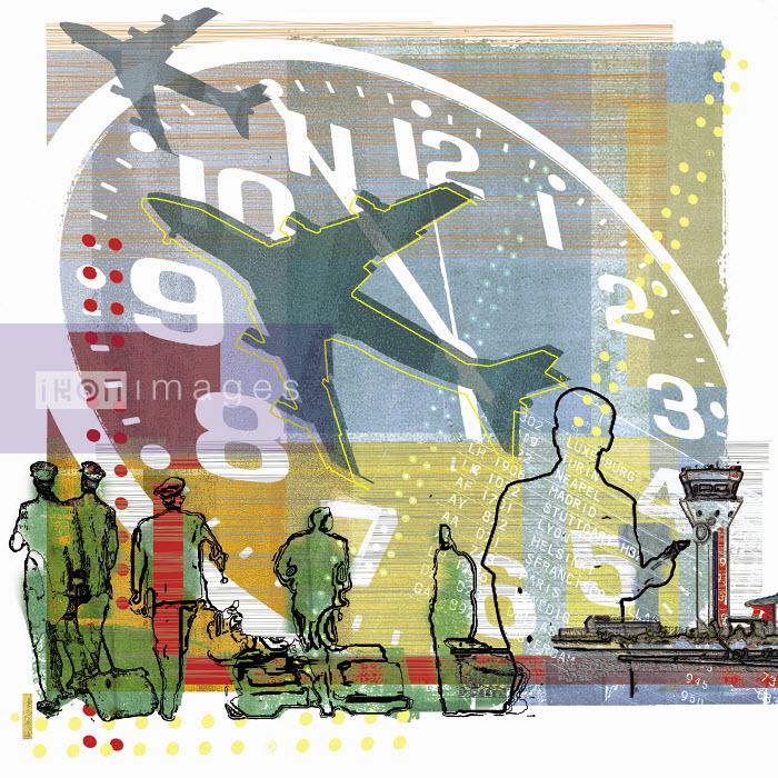 Pilots walking under clock and airplanes at airport - Pilots walking under clock and airplanes at airport - Sarah Jones