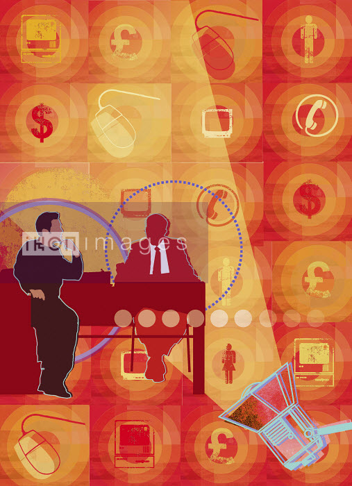 Spotlight on businessman and customer at desk surrounded by finance and communication images - Spotlight on businessman and customer at desk surrounded by finance and communication images - Sarah Jones