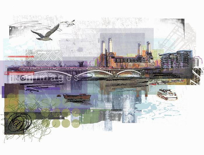 River Thames and Battersea Power Station in London - River Thames and Battersea Power Station in London - Sarah Jones