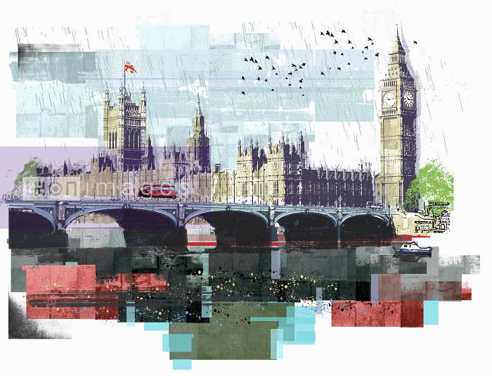 Bus crossing Westminster Bridge by Houses of Parliament and Big Ben in London - Bus crossing Westminster Bridge by Houses of Parliament and Big Ben in London - Sarah Jones