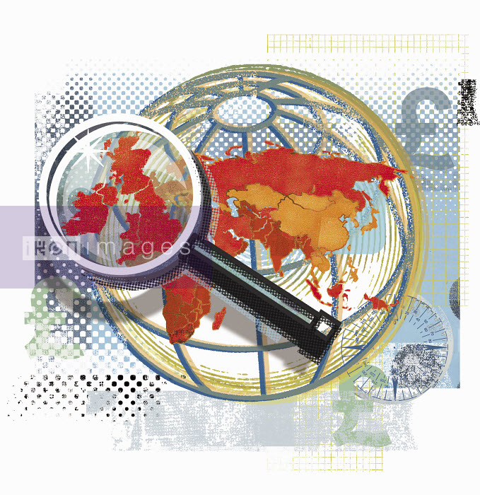 Magnifying glass over United Kingdom on globe - Magnifying glass over United Kingdom on globe - Sarah Jones