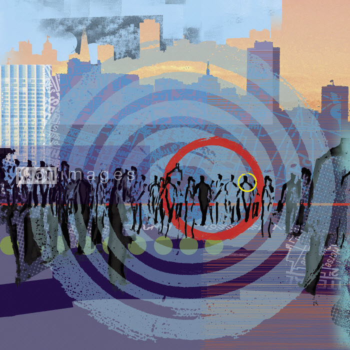 Red and yellow rings on bull�s-eye over people walking in city - Red and yellow rings on bull�s-eye over people walking in city - Sarah Jones
