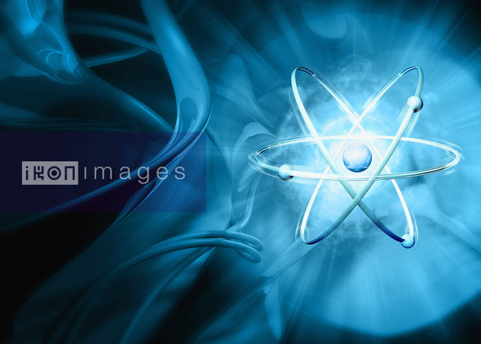 Atom with abstract blue background - Atom with abstract blue background - Magictorch