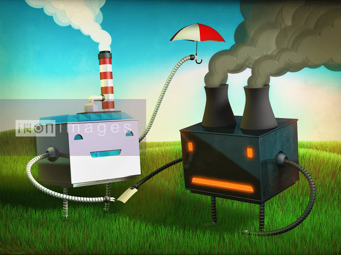 Green factory helping out polluting factory - Green factory helping out polluting factory - Magictorch