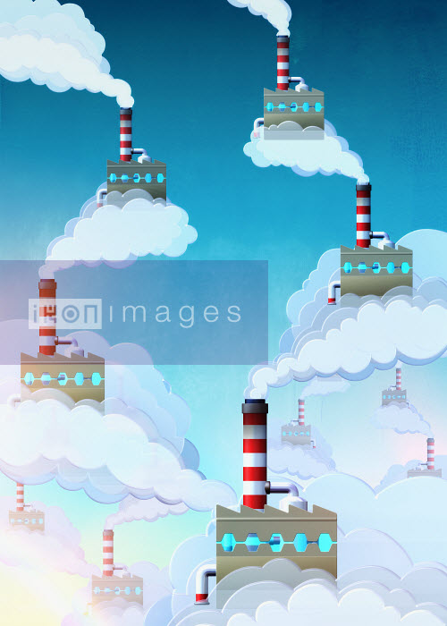 Factories floating in sky with smoking and smokestacks - Factories floating in sky with smoking and smokestacks - Magictorch
