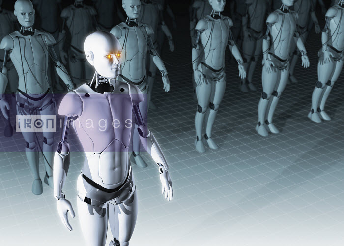 Group of robots in military formation - Group of robots in military formation - Magictorch
