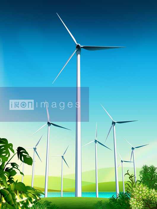 Wind turbines near lake in countryside - Wind turbines near lake in countryside - Magictorch