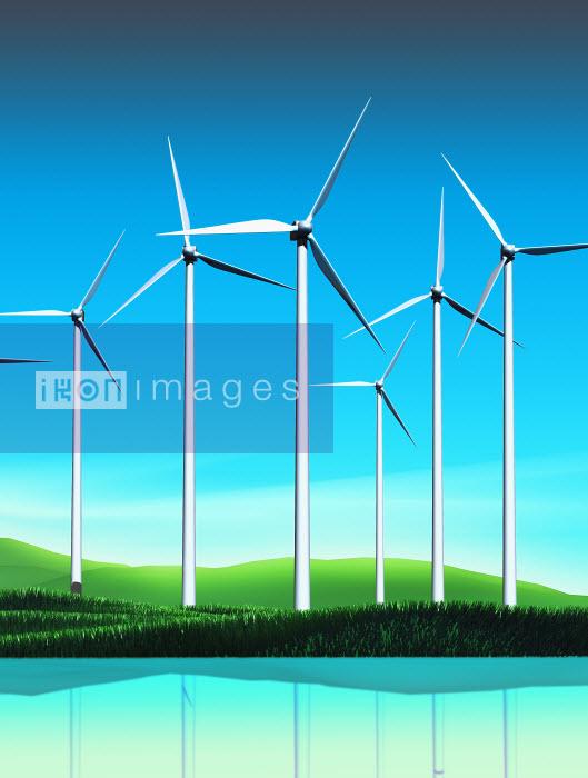 Wind turbines near lake in countryside - Wind turbines near lake in countryside - Magictorch