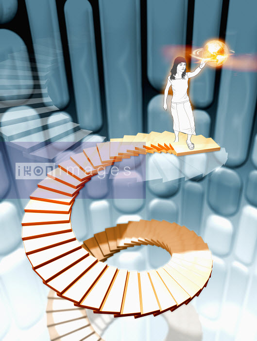 Woman standing on top of spiral staircase - Woman standing on top of spiral staircase - Magictorch