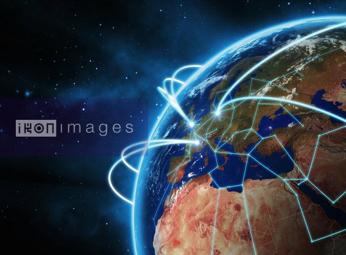 Glowing lines circling globe - Glowing lines circling globe - Magictorch