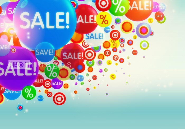 Colorful bubbles with percent signs and �sale� sign - Colorful bubbles with percent signs and �sale� sign - Magictorch