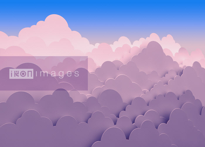 Stacked pink clouds against blue sky - Stacked pink clouds against blue sky - Magictorch