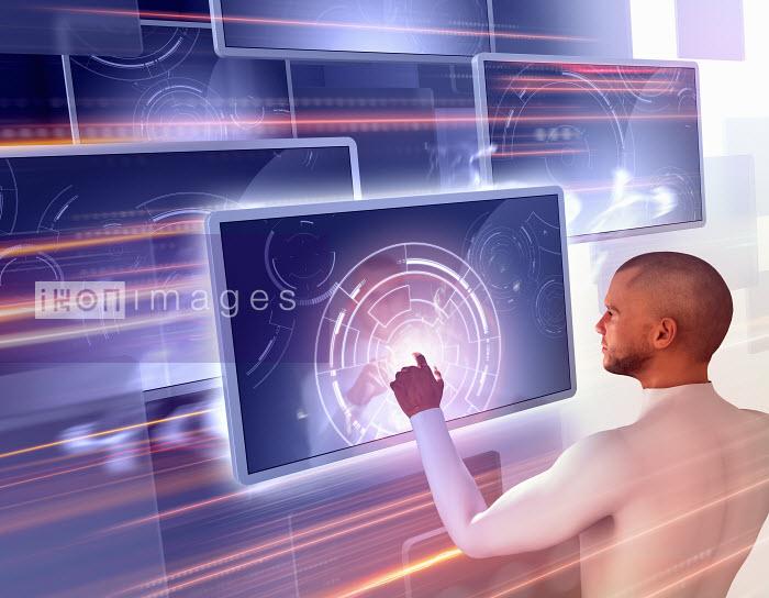 Man using touch screen technology - Man using touch screen technology - Magictorch