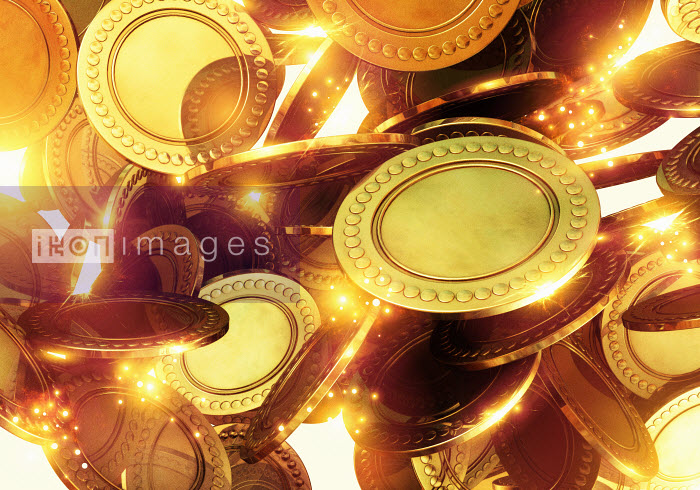 Close up of gold coins - Close up of gold coins - Magictorch