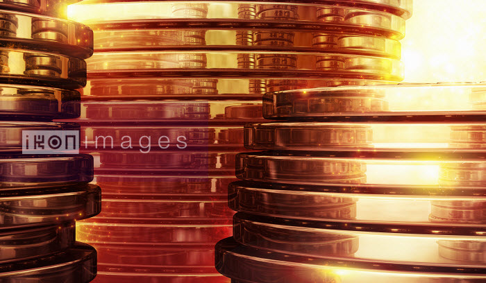 Close up of stacked gold coins - Close up of stacked gold coins - Magictorch