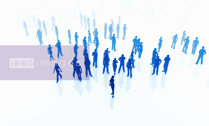 Silhouettes of crowd of blue people standing and walking on white background - Silhouettes of crowd of blue people standing and walking on white background - Magictorch