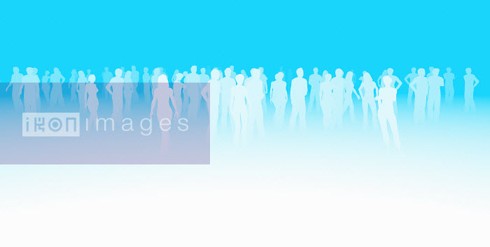 Silhouette of crowd of people on blue background - Silhouette of crowd of people on blue background - Magictorch