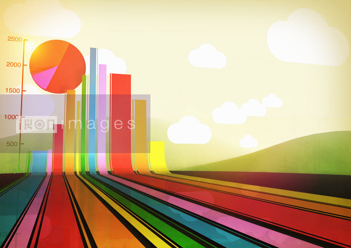 Multicolored bar graph and pie chart in landscape - Multicolored bar graph and pie chart in landscape - Magictorch