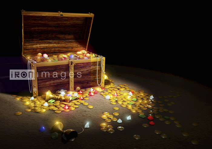 Gold coins and jewels spilling from treasure chest - Gold coins and jewels spilling from treasure chest - Magictorch