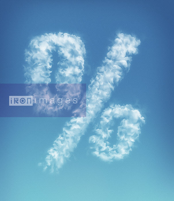 Clouds forming percent symbol in blue sky - Clouds forming percent symbol in blue sky - Magictorch