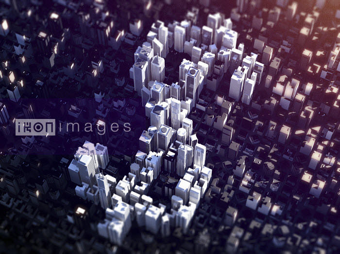 Aerial view of city skyscrapers forming dollar symbol - Aerial view of city skyscrapers forming dollar symbol - Magictorch