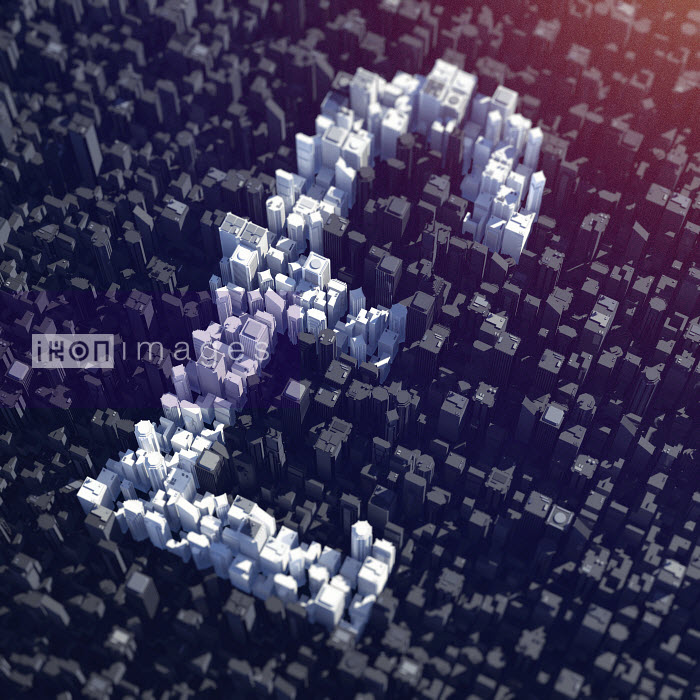 Aerial view of city skyscrapers forming British pound symbol - Aerial view of city skyscrapers forming British pound symbol - Magictorch