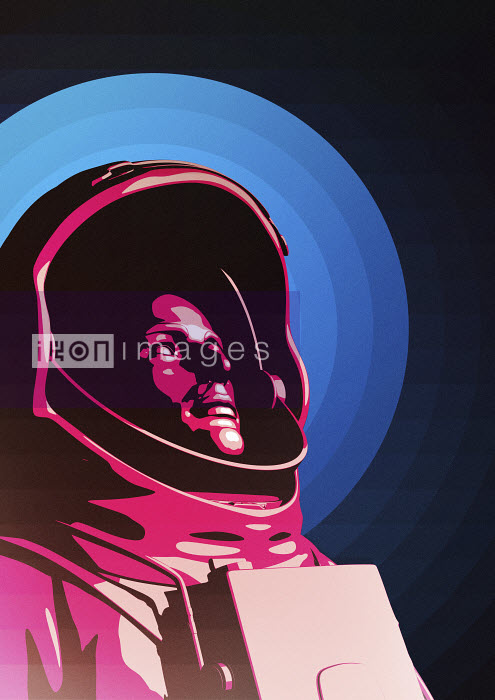 Astronaut wearing space suit looking up to space - Astronaut wearing space suit looking up to space - Magictorch