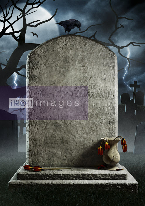 Blank gravestone with dead flowers in spooky churchyard at night - Blank gravestone with dead flowers in spooky churchyard at night - Magictorch