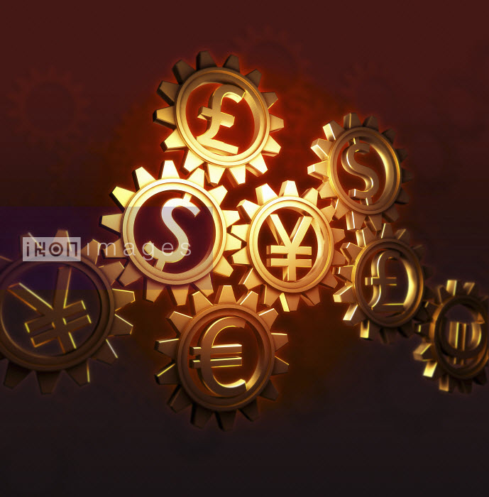 Connected cogs with currency symbols - Connected cogs with currency symbols - Jason Jaroslav Cook