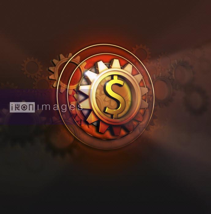 Dollar symbol in centre of cog - Dollar symbol in centre of cog - Jason Jaroslav Cook
