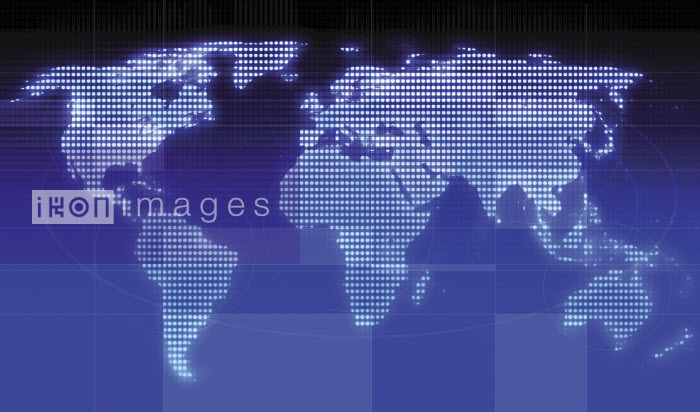 Dotted grid world map on blue background - Dotted grid world map on blue background - Jason Jaroslav Cook