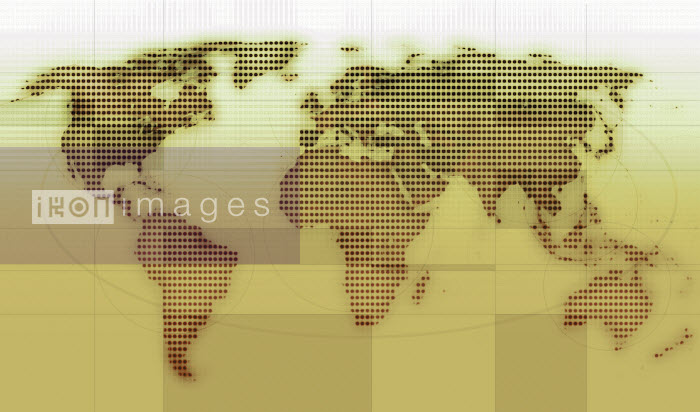 Dotted grid world map on yellow background - Dotted grid world map on yellow background - Jason Jaroslav Cook