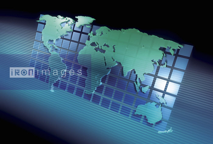 Three dimensional world map on square grid - Three dimensional world map on square grid - Jason Jaroslav Cook