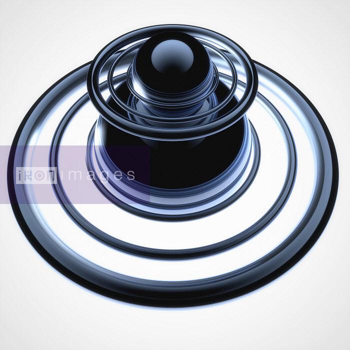 Abstract metallic ball inside concentric circles - Abstract metallic ball inside concentric circles - Jason Jaroslav Cook