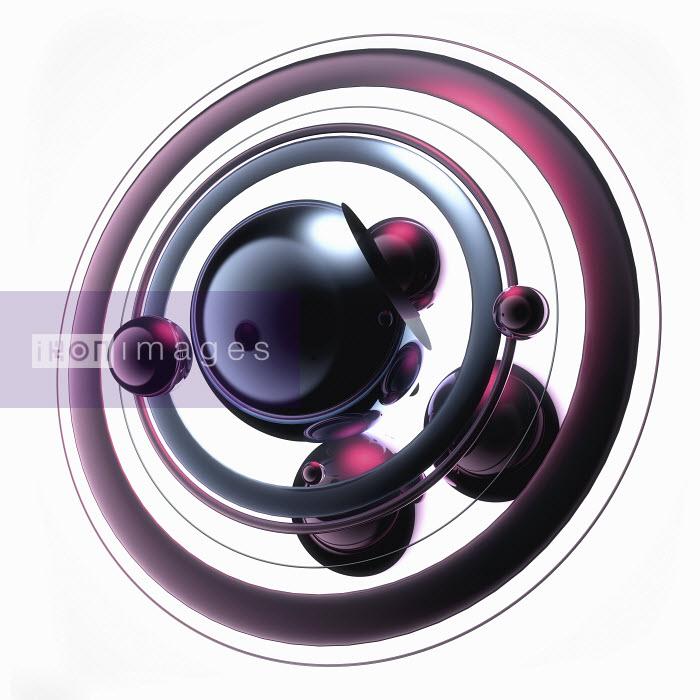 Abstract pink spheres orbiting around black sphere - Abstract pink spheres orbiting around black sphere - Jason Jaroslav Cook