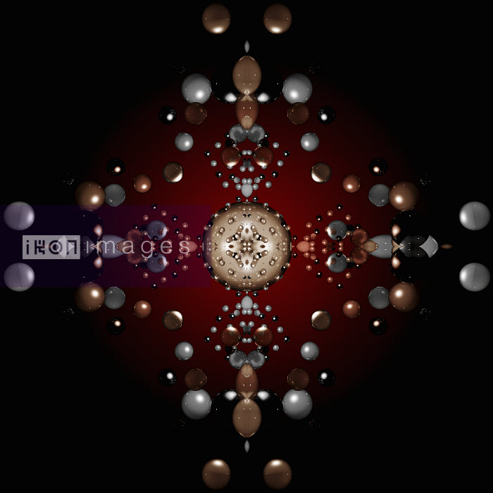 Shiny ovals and spheres in abstract geometric kaleidoscope pattern - Shiny ovals and spheres in abstract geometric kaleidoscope pattern - Jason Jaroslav Cook