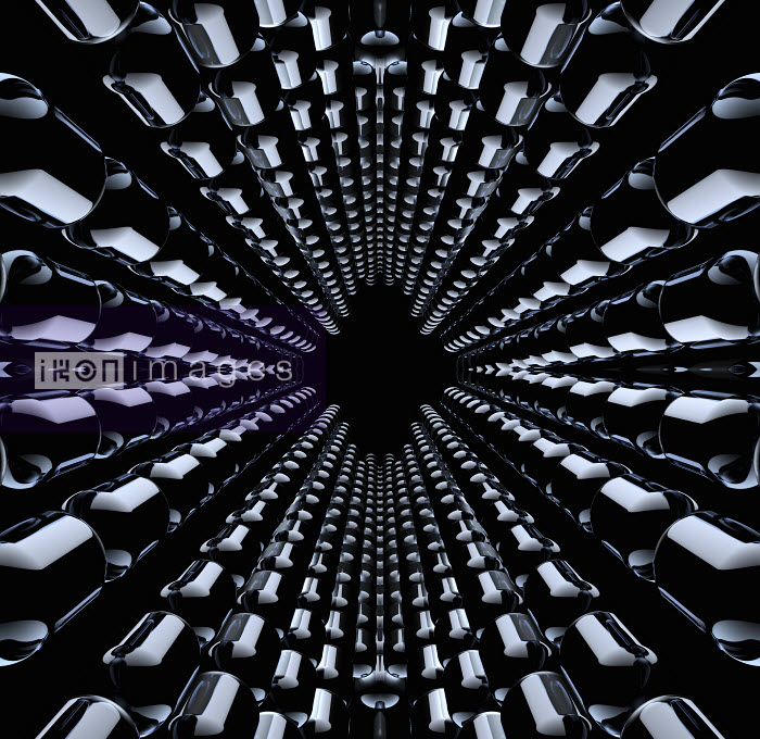 Rows of shiny black capsules emerging from vanishing point - Rows of shiny black capsules emerging from vanishing point - Jason Jaroslav Cook